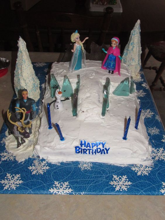 Frozen themed cake I made for my twins 2nd birthday. I used ice cream cones to make trees and homemade rock candy for ice castle.