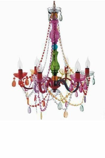 Multi-colored chandelier