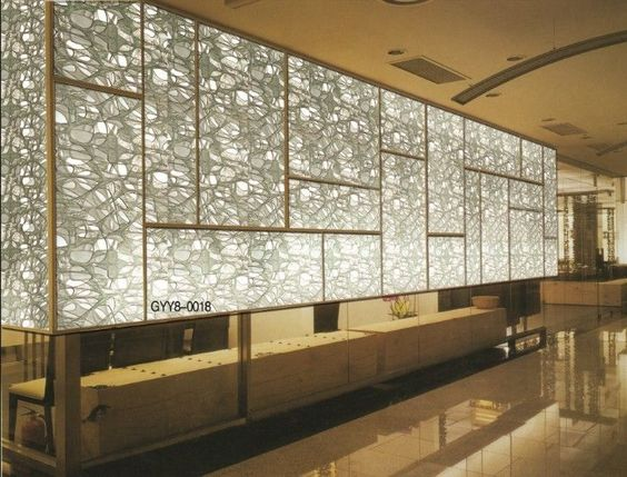 Tinted decorative glass partition for glass curtain walls - Decorative glass wall panels ...