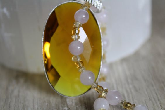 Citrine and Rose Quartz Gemstone Necklace by MountainSkyJewelry