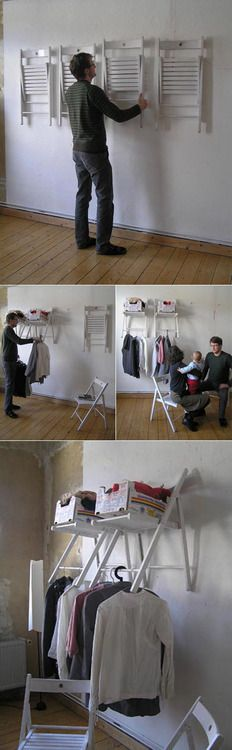 DIY Instant Closet from Chairs  This really is incredibly clever. The chairs are a simple wooden folding variety and are not permanently affixed to the wall. Yet when opened they stabilize, hold boxes of loose articles and are the perfect width from the wall to hang even the most bulky of garments.  The entire article Re-Thinking Furniture: Innovative Design Explorations by Yi Cong Lu from Core77 is a good read and full of clever designs.