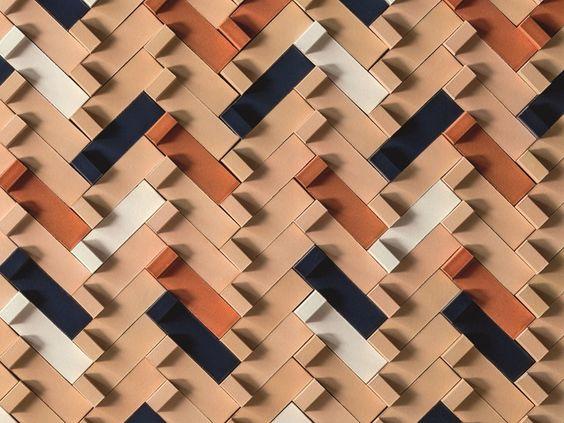 Revêtement mural 3D en terre cuite TIERRAS ARTISANAL LITTLE L by MUTINA design Patricia Urquiola
