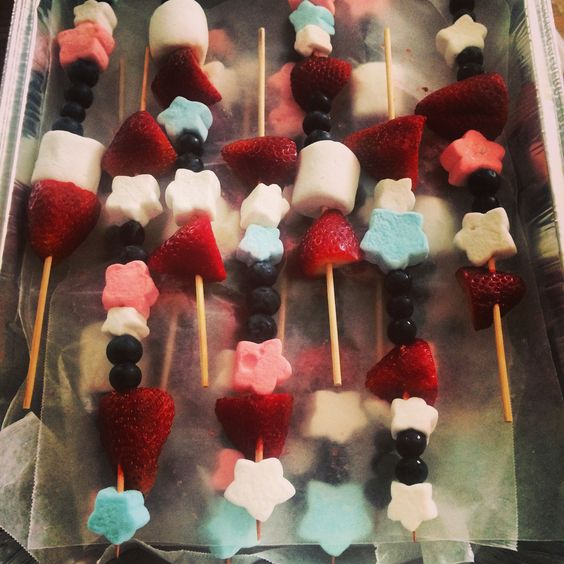 4TH OF JULY FRUIT AND MARSHMALLOW KABOBS:  Strawberries and or raspberries, blueberries, and marshmallows!  Wooden sticks