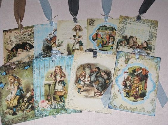 Vintage Alice in Wonderland set of Nine Assorted Vintage Gift Tags ATC