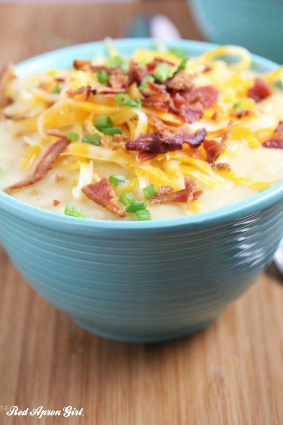 Creamy Bacon Potato Soup | The Red Apron Girl Recipes
