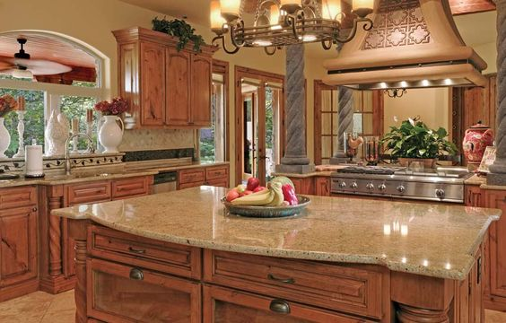 cherry cabinets with cream paint & travertine floors | Countertop with Rustic Cherry Cabinets and Cream Tone Travertine ...