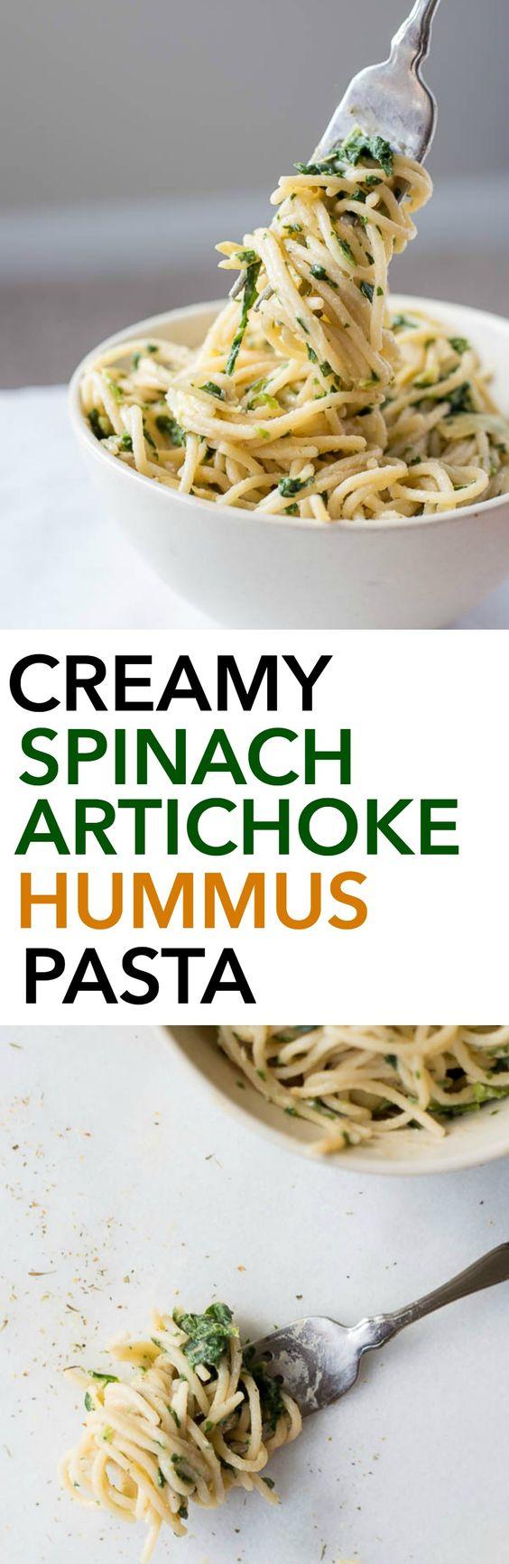 Spinach Artichoke Hummus Pasta: A healthy, gluten free, and vegan ...