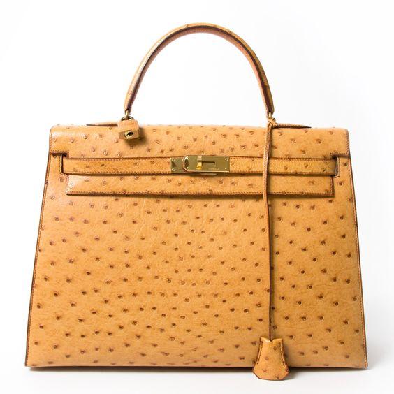 2dehands net als nieuw designer vintage Hermes Kelly 35cm ostrich 100% echt authentiek webshop labellov