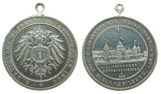 Schützen Messing versilbert Berlin - auf das 10. Deutsches Bundesschießen, Wappenadler / Festhalle - darunter X.Deutsches Bundesschießen, tragbare Medaille 1890 vz
