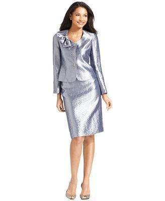 Satin Suits for Women | Kasper Suit, Hammered Satin Bow Jacket & Skirt