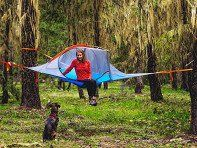Gain a new perspective on nature. These lightweight, durable tents and hammocks suspend from trees with an innovative 3-point tension system.