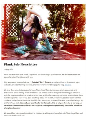 BexLife.com featured in @plankyogamats newsletter!! #FitFluential #SweatPink #yoga