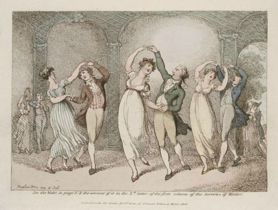 This couples dance was considered rather racy in an age when stately group English country dances were the primary offerings at Almack's.: