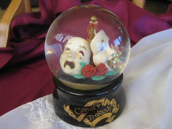 Vintage Comedy Tragedy San Francisco Music Box  Company Musical Snow globe GOOD with noted imperfection