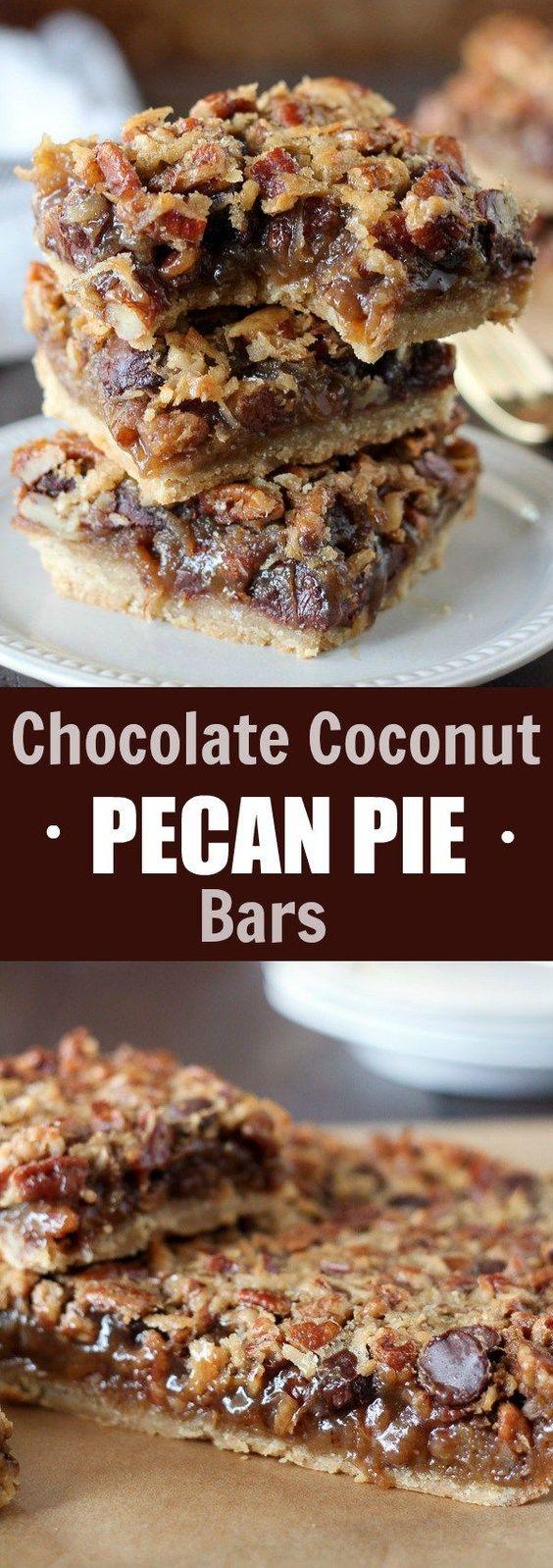 Chocolate Coconut Pecan Pie Bars - A brown sugar shortbread crust ...