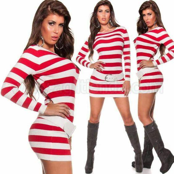 #Original #vestido de #punto #elastico con #estampado de #rayas #ceñido al #cuerpo para #deslumbrar con tu #look #diaro #marcando #estilo #unico y #tendencia #chic y #joven. #Jersey #largo y #ajustado al #cuerpo para @mujer. Encuentralo en #vestidosdepunto http://www.agiltienda.com/es/home/2281-vestido-de-invierno-de-rayas-8400228145354.html #online #shop #sexy #fashion @agiltienda.es