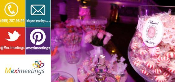 Mesa de dulces de los XV años de Marisol  http://www.meximeetings.com.mx/