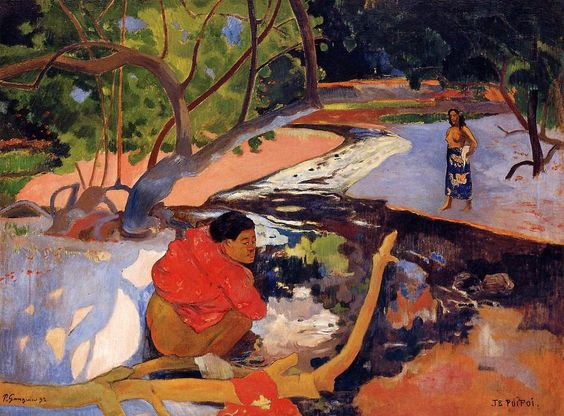 The morning, Oil On Canvas by Paul Gauguin (1848-1903, France)