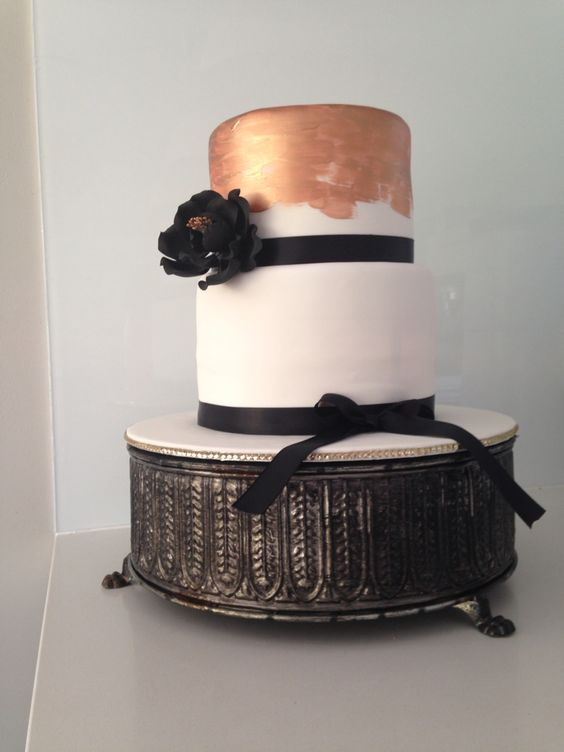 Classy Black and White Cake for an 18th Birthday by #OldSchoolTeaLady