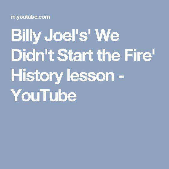 We Didn T Start The Fire Billy Joel: Billy Joel's' We Didn't Start The Fire' History Lesson