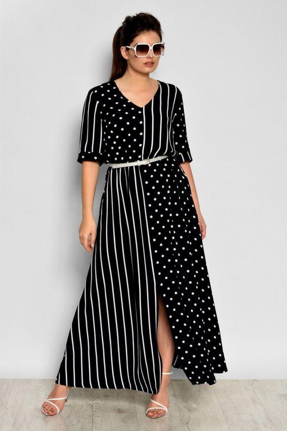 Длинное платье больших размеров, в полоску, в горошек, платье для женщин, свободный силуэт, весеннее, летнее, новинка 2019
