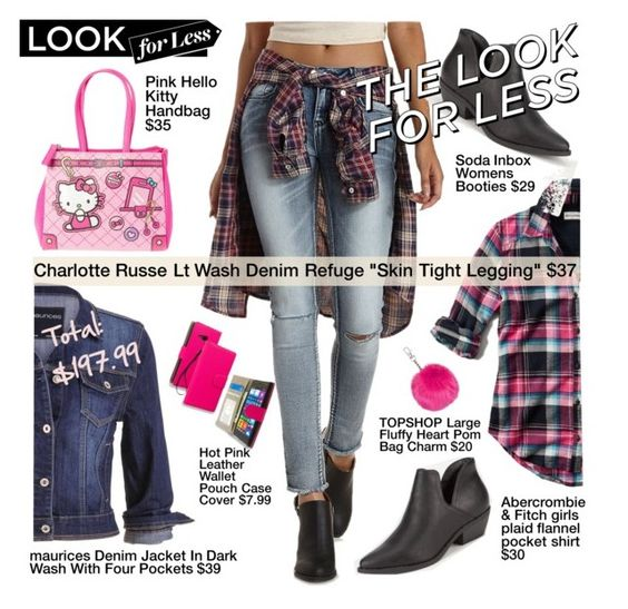 """The Look for Less: Denim $197.99"" by esch103 ❤ liked on Polyvore featuring moda, Charlotte Russe, Abercrombie & Fitch, Soda, maurices, Nokia, Topshop i Hello Kitty"