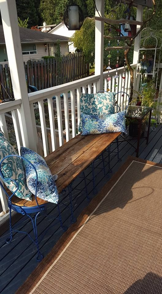 Ice cream parlor chairs converted to bench
