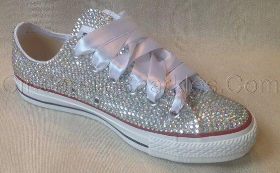 Diamante Crystal Covered Converse Wedding by CinderellaSparkles11, $195.00