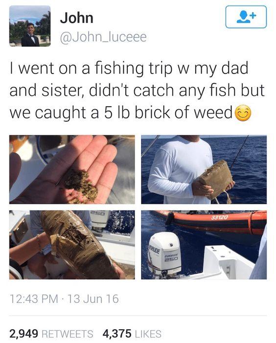 Una familia salió de pesca y terminó capturando un montón de marihuana en lugar de peces