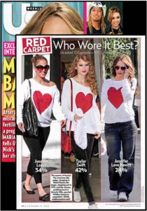 Wildfox Couture Sparkle Heart Baggy Beach Jumper on J Lo, Taylor Swift, & Jennifer Love Hewitt