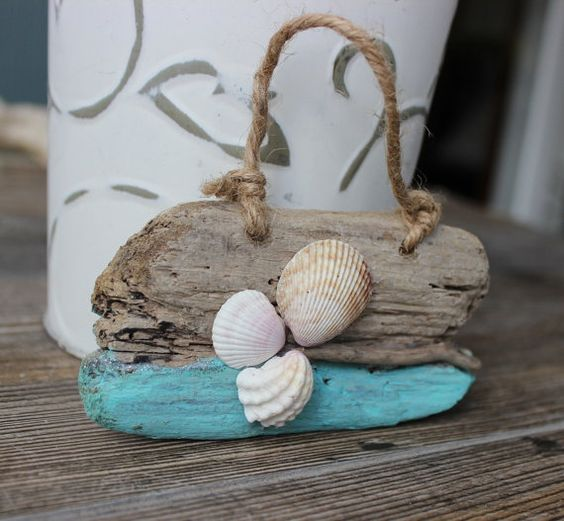 Shell and Driftwood Art , Beach Comber Gift , Shore Decor , Coastal Home Decor Ornament