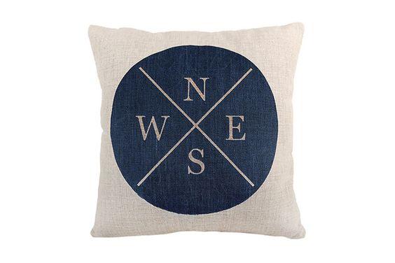 Space & Shape Dark Blue Compass Cushion