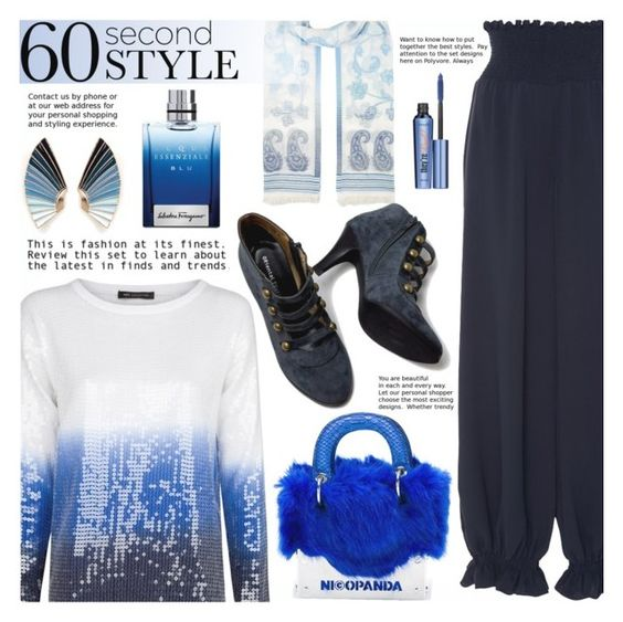 """""""New day"""" by gabrilungu ❤ liked on Polyvore featuring Lulu Frost, MANGO, Monsoon, Azede Jean-Pierre, Nicopanda, Salvatore Ferragamo, Benefit, ombre and 60secondstyle"""