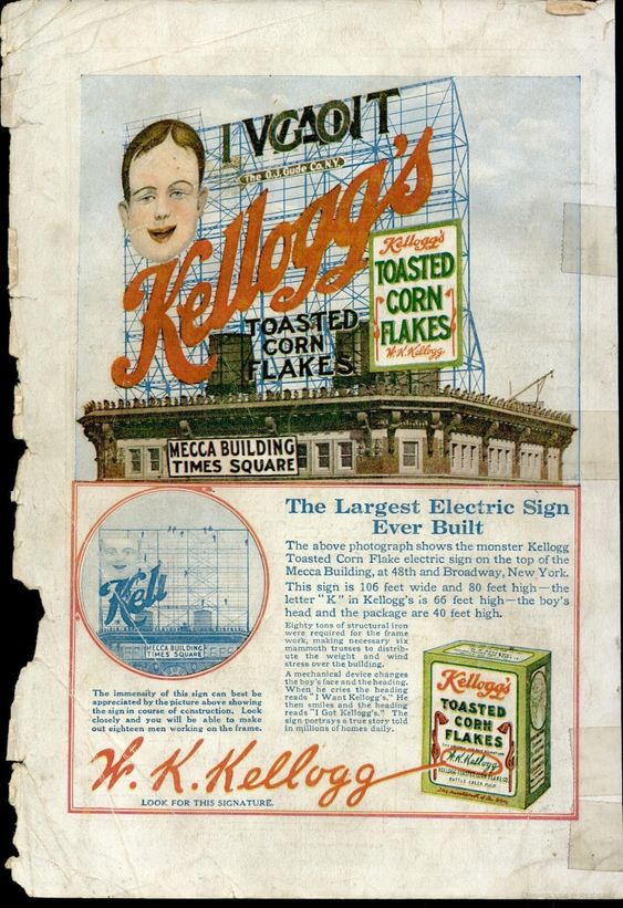 Kellogg's - Toasted Corn Flakes in Popular Mechanics 1912 <> Largest Electric Sign Ever Built