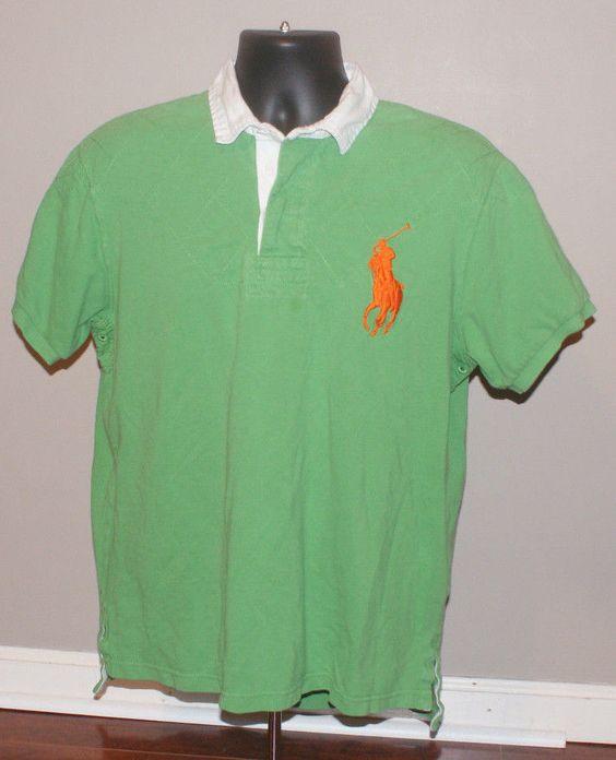 Ralph Lauren Polo Big Pony Custom Fit 100% cotton Green Orange Rugby Shirt XL #RalphLauren #PoloRugby