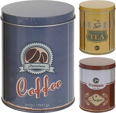 Set of 3 Vintage Retro Style Storage Cannisters Tea Coffee & Sugar Storage Jars