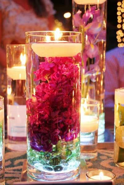 20 candles centerpieces romantic table decorating ideas for Water decoration ideas