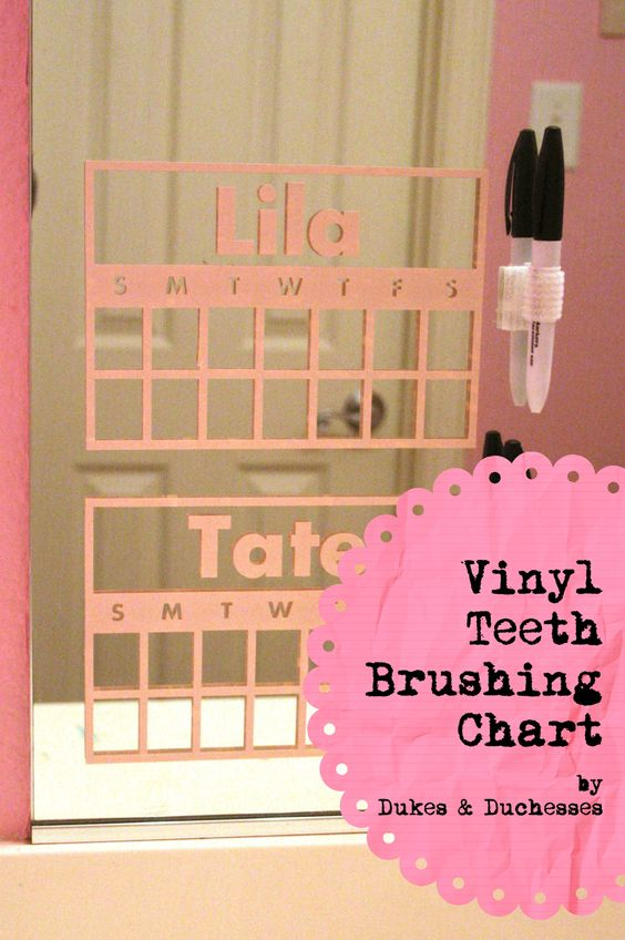 This is GENIUS find from Dukes & Duchesses - vinyl teeth brushing chart that stick to the mirror in the bathroom!