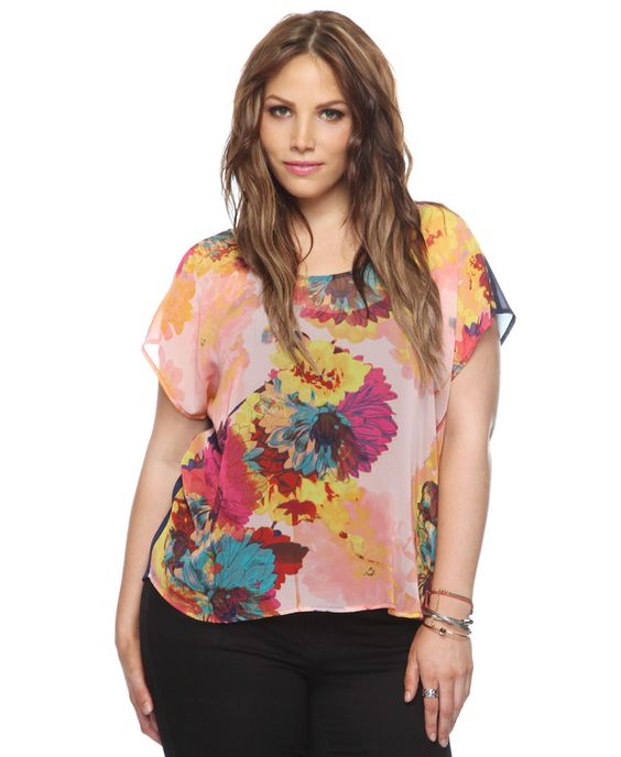 $18.80 Blooming Art Contrast Back Top | FOREVER21 PLUS - 2000044473