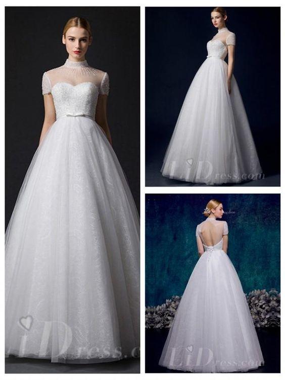 Short Sleeves Illusion High Neckline A-line Wedding Dress
