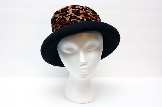 Black Style Wool Felt Hat with Velvet Animal Print Wide Fabric Ribbon One Size #Unbranded #ChurchDress