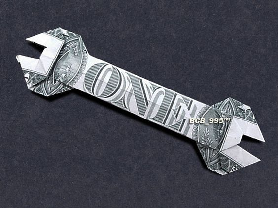 WRENCH Money Origami - Dollar Bill Art: