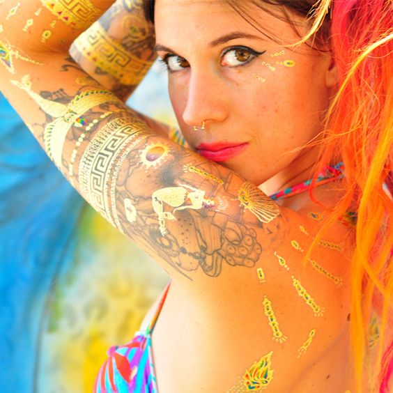 Charmaine Olivia Gold Temporary Tattoos | Mermaid Glow Gold Tattoos | Tattify