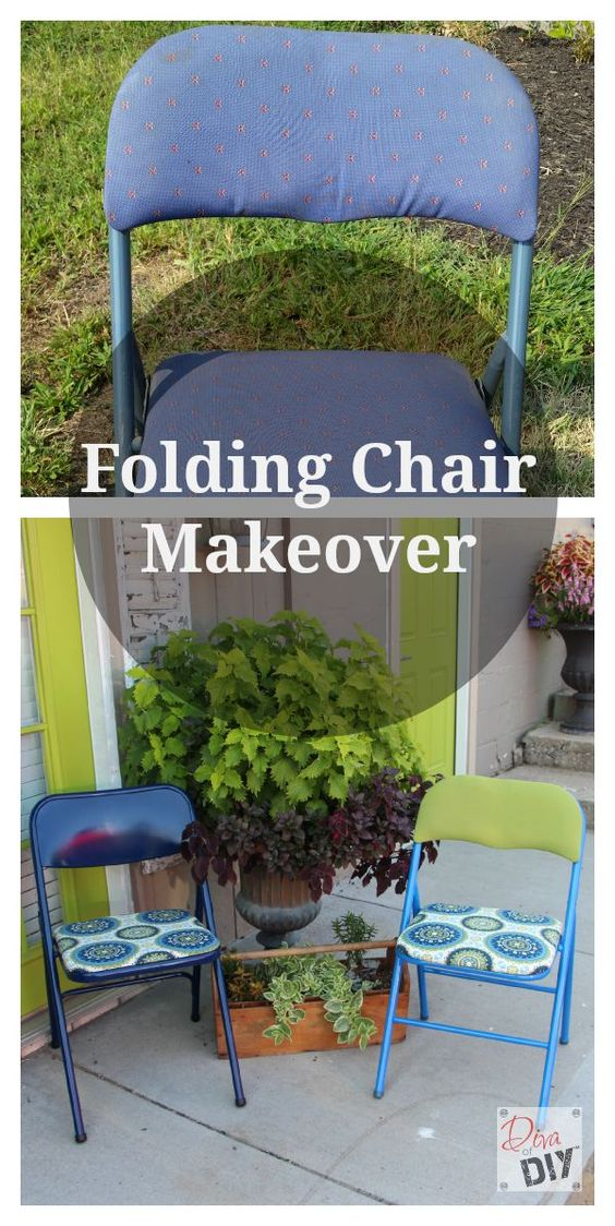 Learn how to makeover those outdated folding chairs. They are perfect for extra seating. Bring them out when you need them and tuck them away in a closet when you don't.