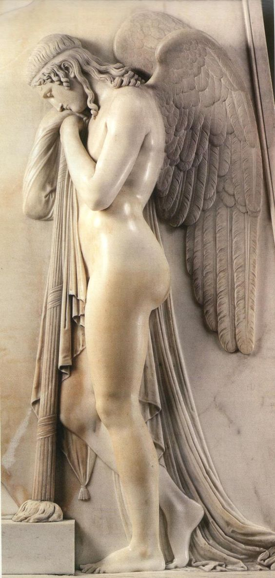Sorrowful Angels by Antonio Canova 1819. Neoclassical sculptor, Antonio Canova, 1757-1822, born in Possagno, in the Provence of Treviso, in the Veneto. He's been one of my favorite sculptors since I first laid my eyes on his work in 1972.