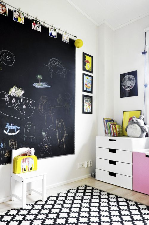blackboard in the child's bedroom: