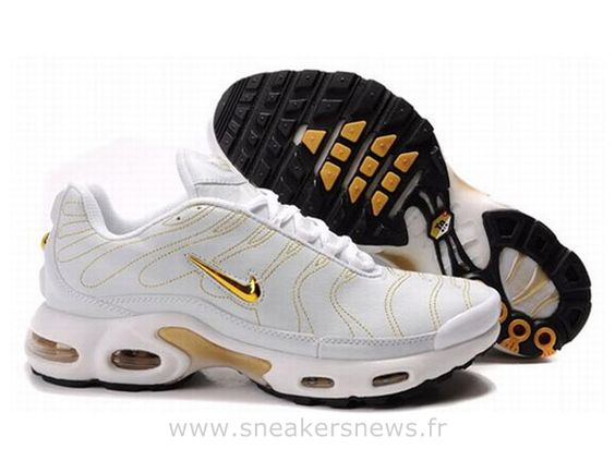 Chaussures de Nike Air Max Tn Requin Homme  Blanc et Or Tn 2015