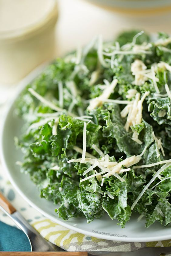 Lightened Up Kale Caesar Salad on tablefortwoblog.com