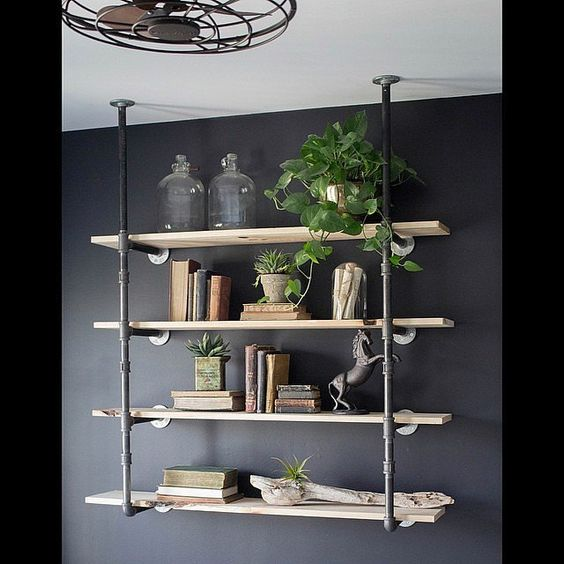 Open shelving decorating tips and look at on pinterest for Pipe decorating ideas
