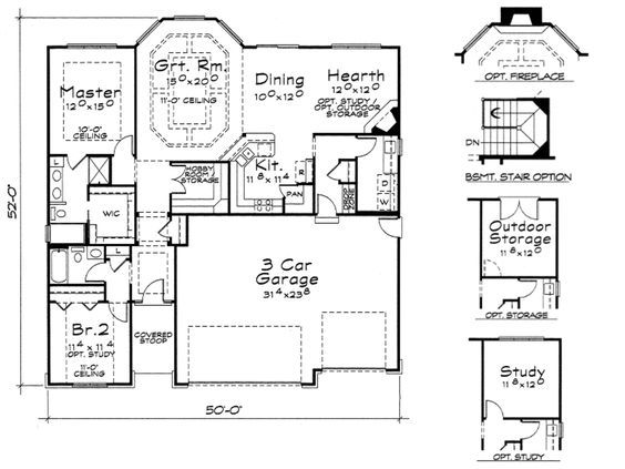 Craftsman Style House Plan - 2 Beds 2 Baths 1620 Sq/Ft Plan #20-2115 Floor Plan - Main Floor Plan - Houseplans.com